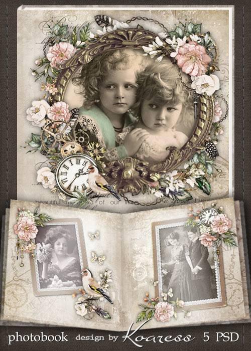 Шаблон винтажной фотокниги - Старый семейный альбом