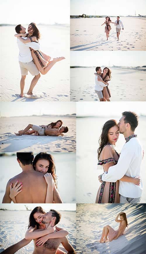 Влюблённая пара у моря - Клипарт / Loving couple by the sea - Clipart