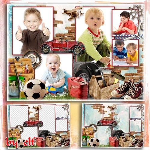 Детская рамка-коллаж для фотошопа на 5 фото - Задорный мальчуган