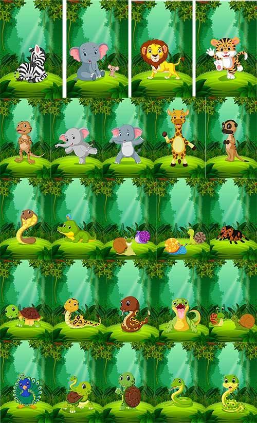Животные в тропическом лесу - Вектор / Animals in the rainforest - Vector
