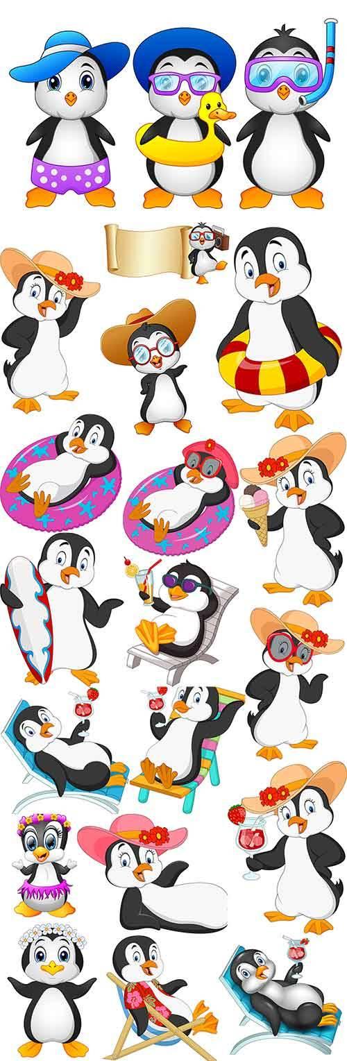 Пингвины летом - Векторный клипарт / Penguins in summer - Vector Graphics