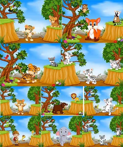 Зверюшки на лесной опушке - Вектор / Beasts on the forest edge - Vector