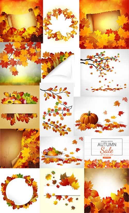Осенние фоны в векторе / Autumn backgrounds in vector