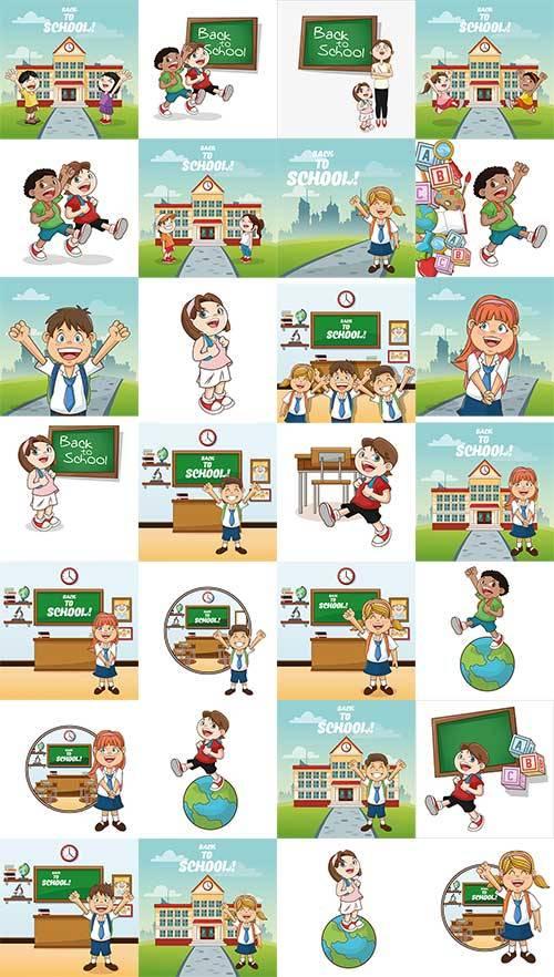 Школьная пора - Векторный клипарт / School Time - Vector Graphics