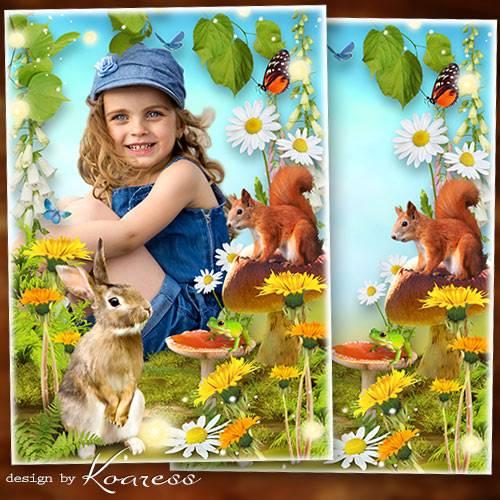 Рамка для детских фото на природе - Летняя полянка