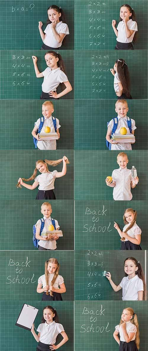 Ученики у школьной доски - Клипарт / Pupils at the school board - Clipart