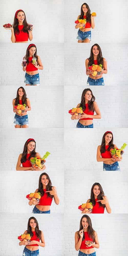 Девушка с фруктами - Растровый клипарт / Girl with fruits - Raster clipart