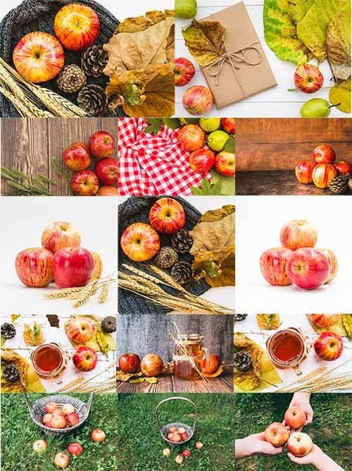 Фоны с яблоками - Растровый клипарт / Backgrounds with apples - Raster clip ...