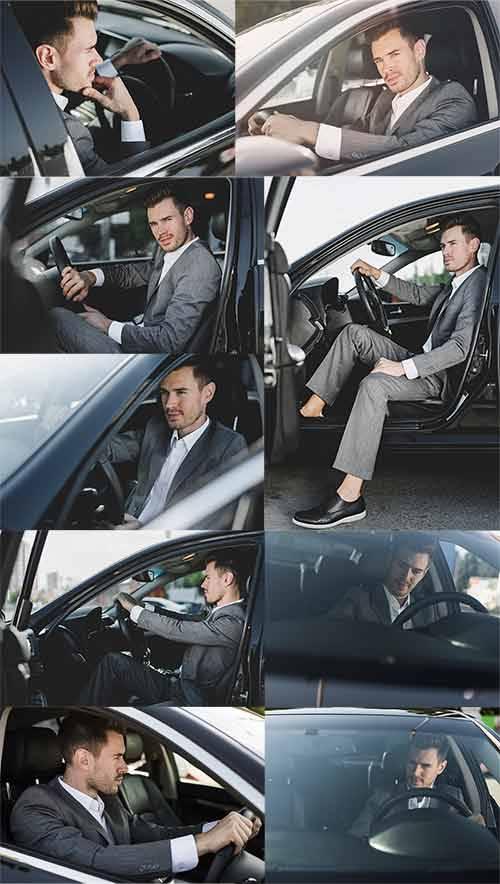 Мужчина в автомобиле - Растровый клипарт / Man in the car - Raster clipart