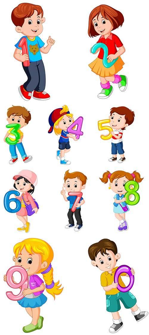 Дети с цифрами в векторе / Children with numbers in vector
