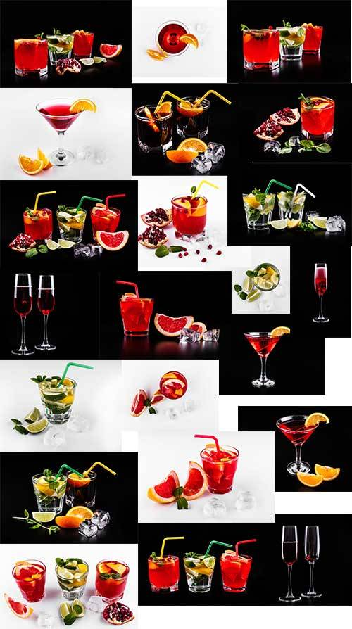 Коктейли - Растровый клипарт / Cocktails - Raster clipart