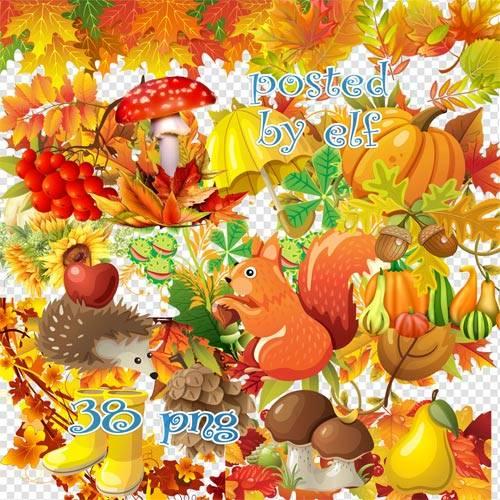Осенний клипарт PNG - Разбросала листья осень
