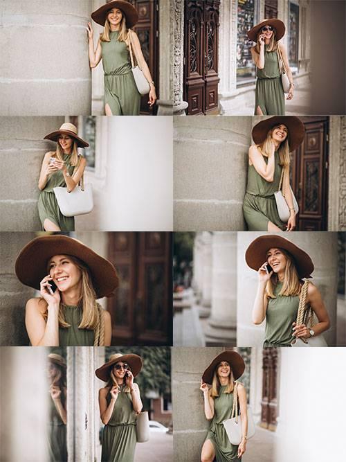 Девушка в шляпе - Растровый клипарт / Girl in hat - Raster clipart