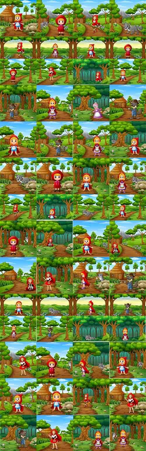 Красная шапочка и серый волк - Векторный клипарт / Girl in red cap and gray ...