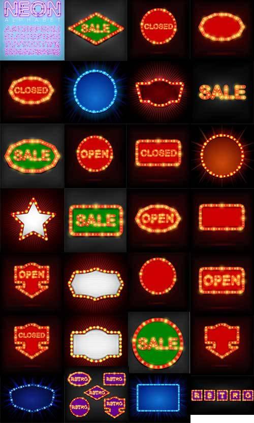 Неоновые фоны и алфавит в векторе / Neon backgrounds and alphabet in vector