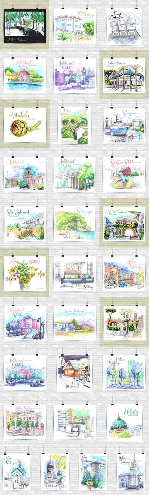 Городские эскизы - Векторный клипарт / Urban sketches - Vector Graphics