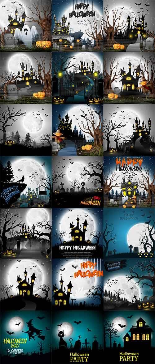 Фоны Хэллоуин - Векторный клипарт / Halloween background - Vector Graphics