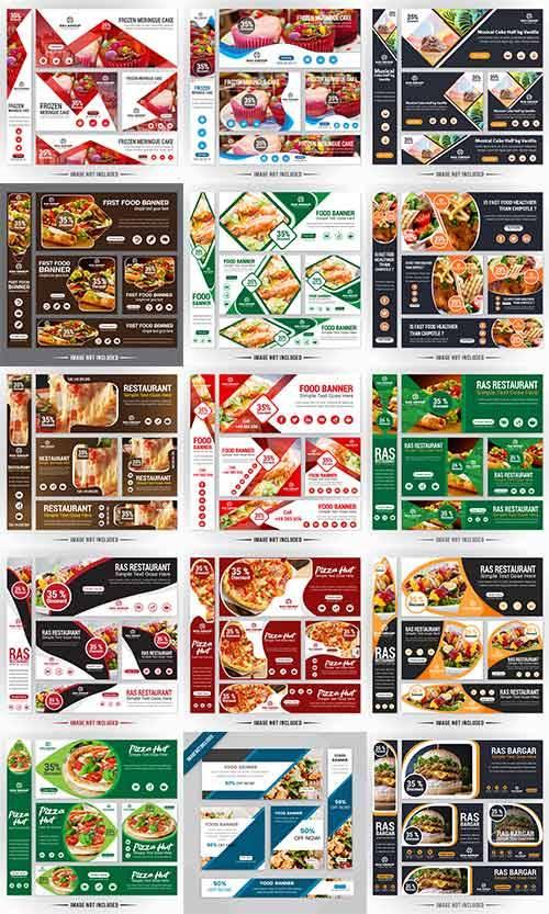 Баннеры для ресторанов в векторе / Banners for restaurants in a vector