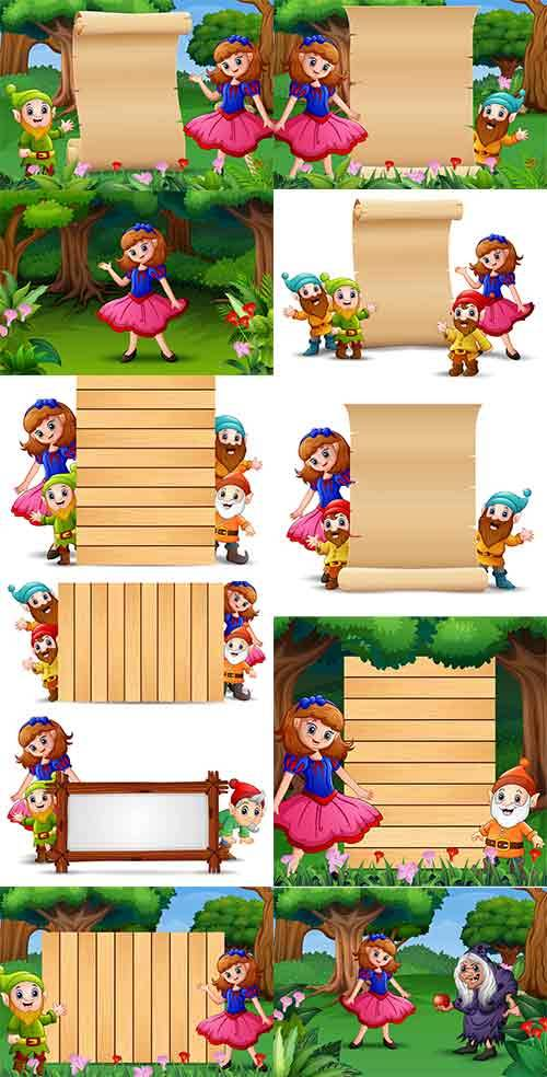Белоснежка и семь гномов - Векторный клипарт / Girl and gnomes - Vector Gra ...