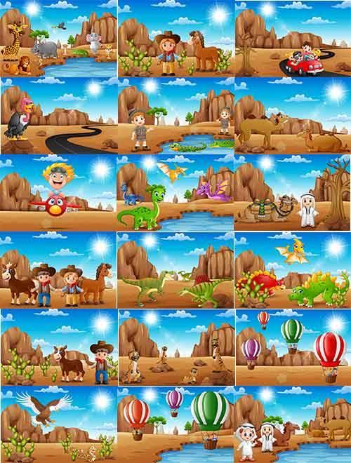 Путешествие по пустыне - Векторный клипарт / Journey through the desert - V ...