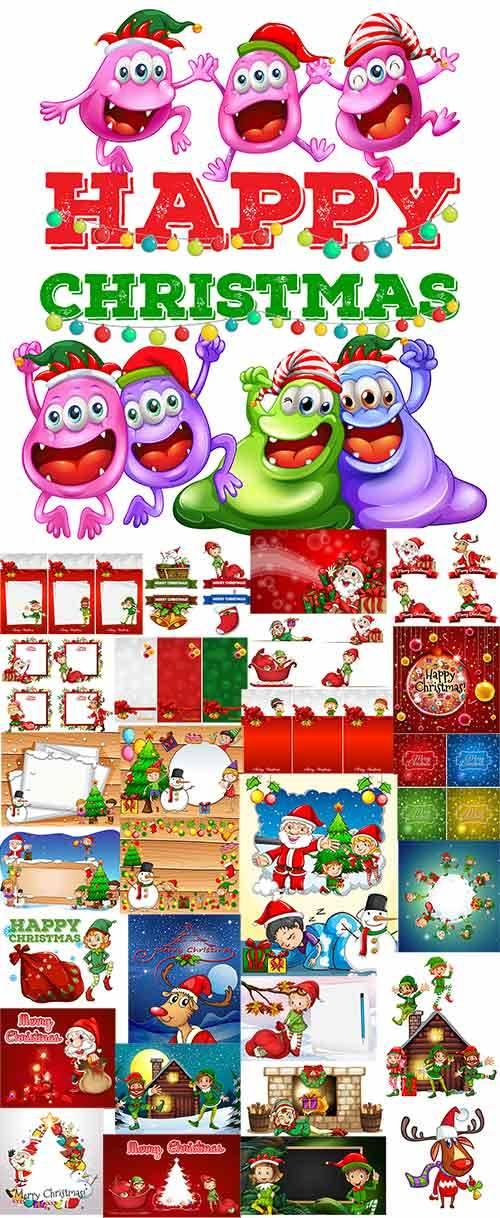 Новогодние зарисовки в векторе / Christmas sketches in vector