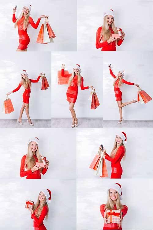 Блондинка в красном платье - Растровый клипарт / Blonde in red dress - Rast ...
