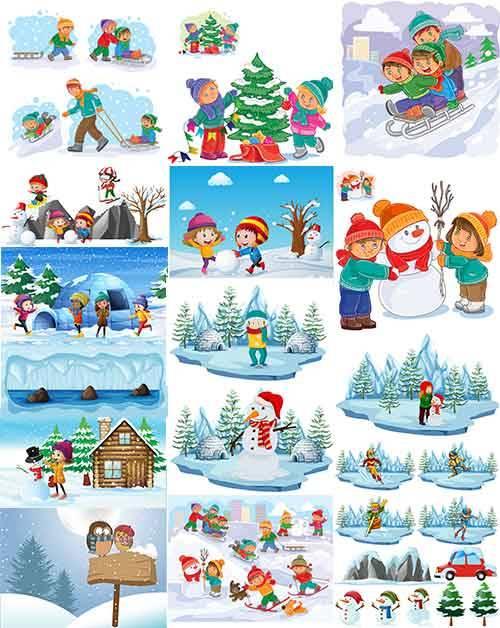 Зимние забавы - 2 - Векторный клипарт / Winter fun - 2 - Vector Graphics