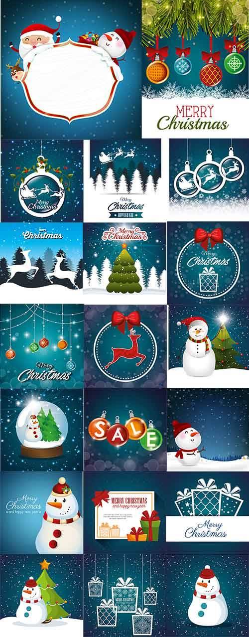 Новогодние фоны - 2 - Векторный клипарт / Christmas backgrounds -2 - Vector ...