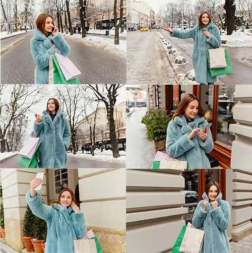 Девушка в шубе - Растровый клипарт / Girl in a Fur Coat - Raster clipart
