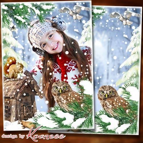 Рамка-коллаж для детских фото - Снег на соснах, на кустах, в белых шубках е ...