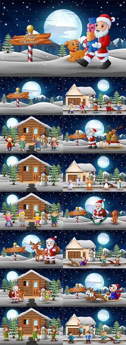 Зимние забавы - 4 - Векторный клипарт / Winter fun - 4 - Vector Graphics