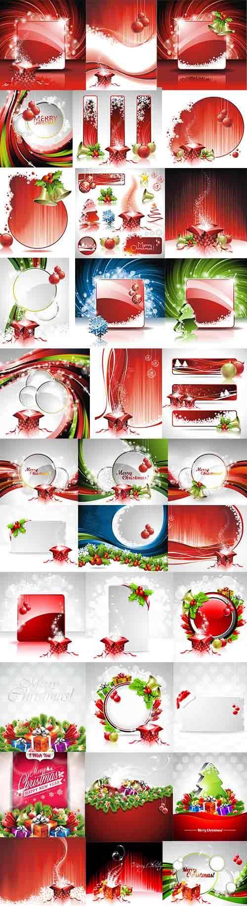 Новогодние фоны - 5 - Векторный клипарт / Christmas backgrounds -5 - Vector ...