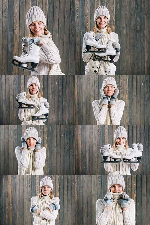 Девушка с коньками - Клипарт / Girl with skates - Clipart