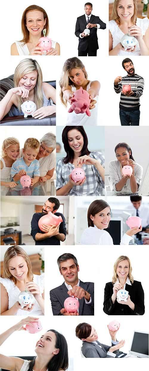Люди с копилкой - Растровый клипарт / People with piggy bank - Raster clipa ...