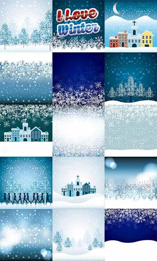 Снежные фоны в векторе - 2 / Snow backgrounds in vector - 2