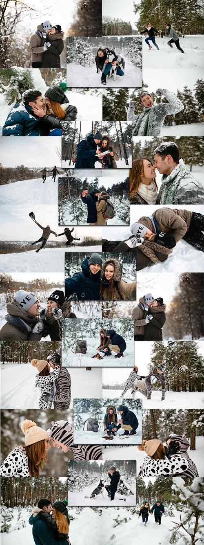 Молодые люди в зимнем лесу - Клипарт / Young people in the winter forest -  ...
