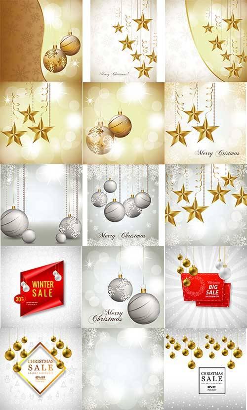 Новогодние шары и звёзды в векторе / Christmas balls and stars in vector