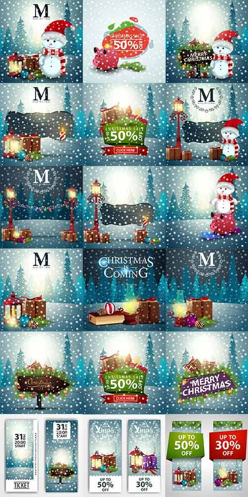Новогодние фоны - 7 - Векторный клипарт / Christmas backgrounds -7 - Vector ...