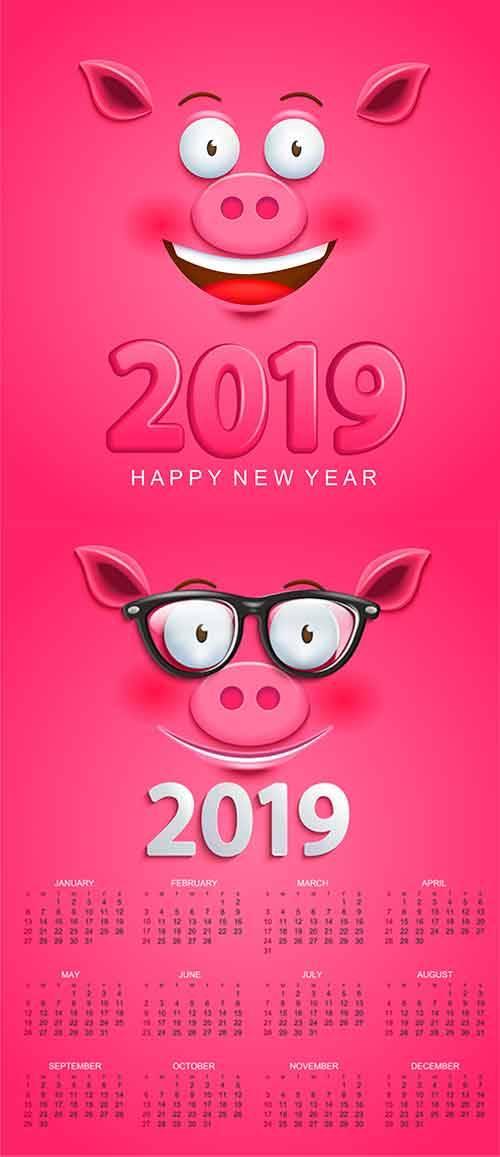 Календарь 2019 со свинкой - Векторный клипарт / Calendar 2019 with pig - Ve ...