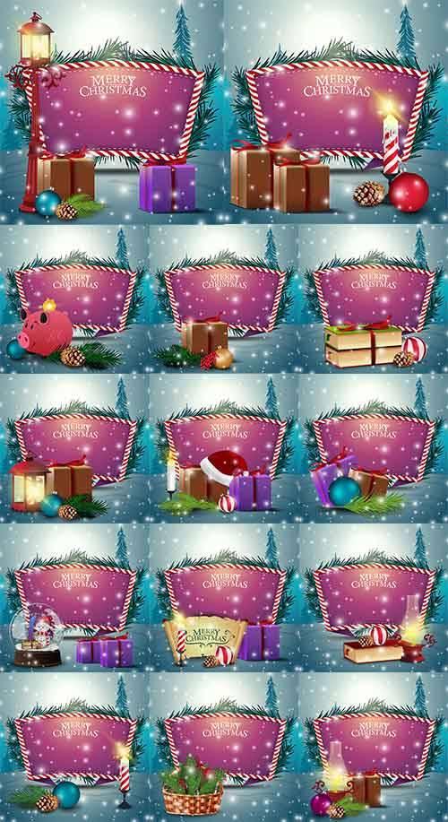 Новогодние фоны - 8 - Векторный клипарт / Christmas backgrounds -8 - Vector ...