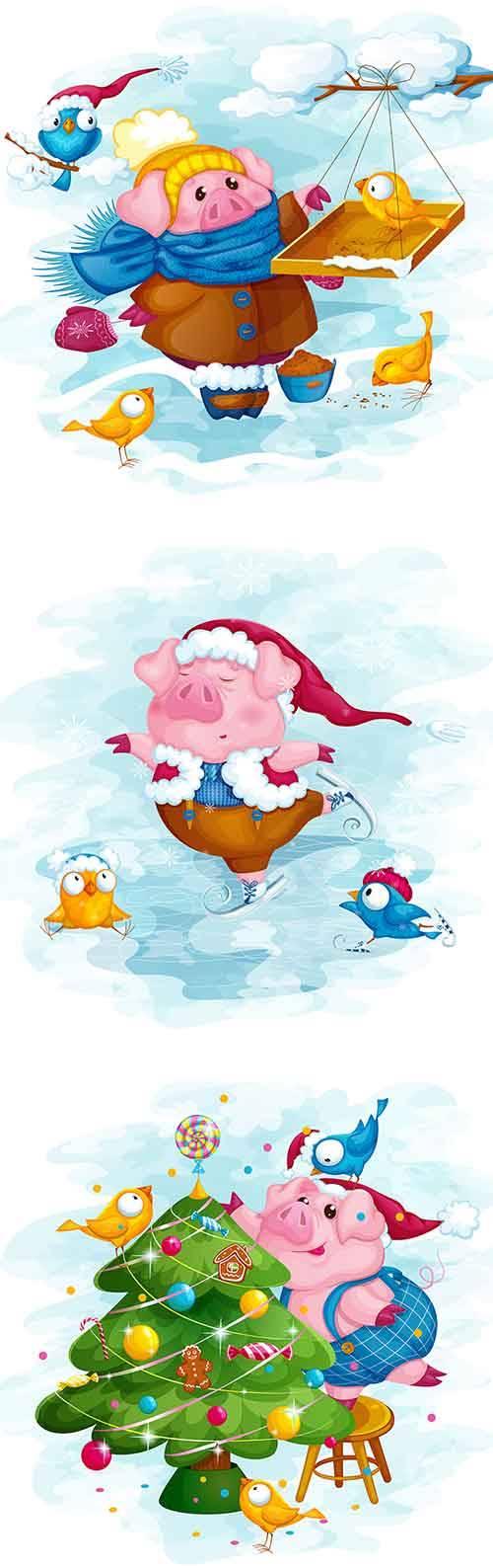 Забавная свинка в векторе / Funny Pig - Vector