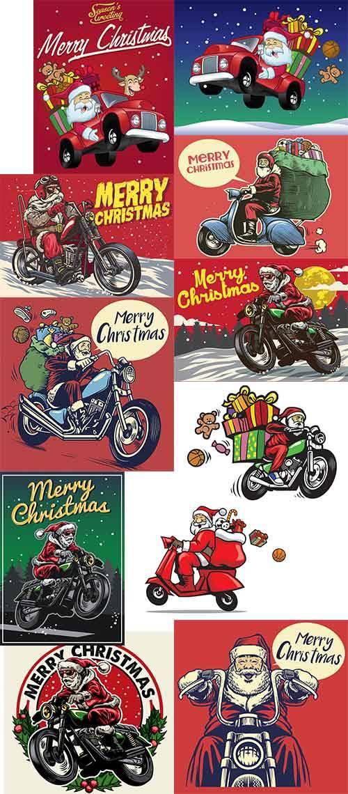 Санта Клаус на мотоцикле - Векторный клипарт / Santa on a motorcycle - Vect ...