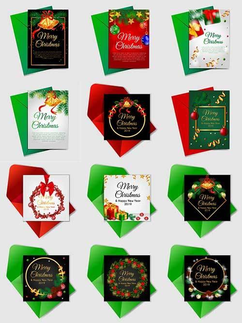 Новогодние открытки - Векторный клипарт / Christmas cards - Vector Graphics