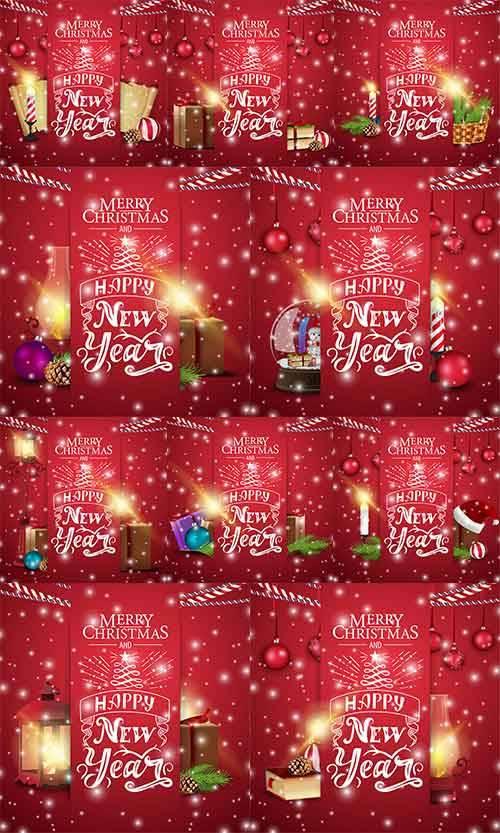 Новогодние открытки - 3 - Векторный клипарт / Christmas cards - 3 - Vector  ...