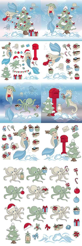 Новый Год с русалкой - Векторный клипарт / Christmas with mermaid - Vector  ...
