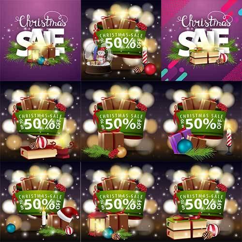 Новогодние баннеры в векторе - 4 / Christmas banners in vector - 4