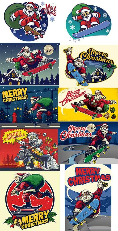Санта Клаус на скайборде - Векторный клипарт / Santa Claus on skyboard - Ve ...