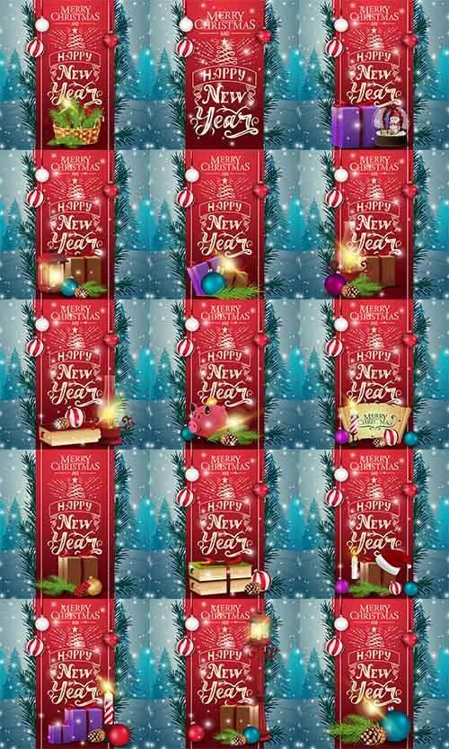 Новогодние открытки - 4 - Векторный клипарт / Christmas cards - 4 - Vector  ...