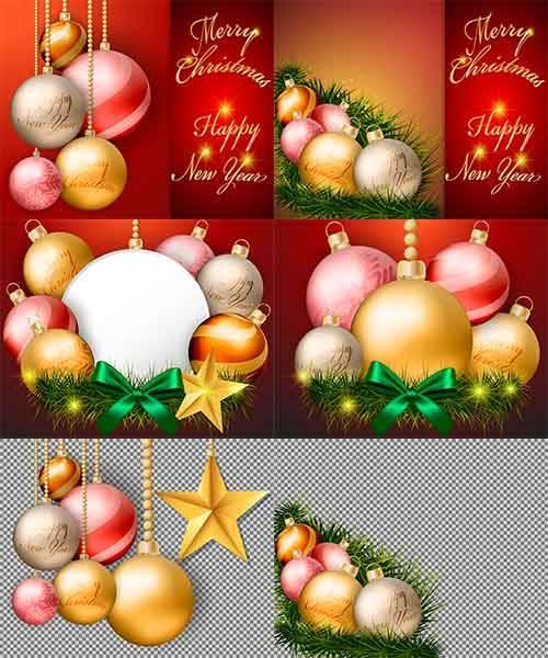 Фоны с новогодними шарами в векторе / Backgrounds with Christmas balls in v ...