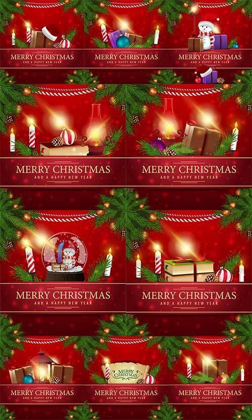 Новогодние открытки - 5 - Векторный клипарт / Christmas cards - 5 - Vector  ...